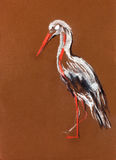Stork painting. Original pastel and  hand drawn painting or  working  sketch of a  stork.Free composition Stock Photos