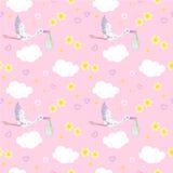 Stork in pink sky Stock Image