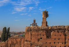 Stork's nest on the walls of the Palais El Badi ( Morocco) Stock Photography