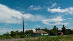 Stork sits on a pole in the village and moving clouds. Time lapse. Stork sits on a pole in the background of a village and moving clouds in a blue sky. Time stock video footage