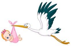 Storken och behandla som ett barn flickan Royaltyfri Foto