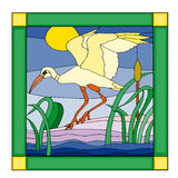 Stork in a stained glass Stock Photos