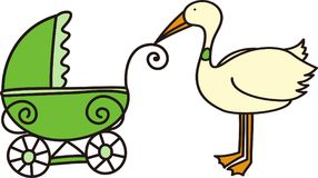 Stork With Stroller Royalty Free Stock Photography