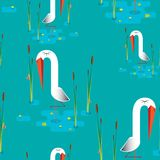 Stork pattern. Stork in swamp stands on one leg and a cane crawling snail Stock Image