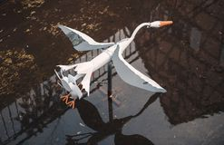 Stork toy with propeller in Canal of Colmar Royalty Free Stock Photos