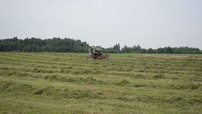 Stork tractor rake hay Royalty Free Stock Photos