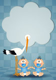 Stork with twin boys Stock Photography