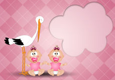 Stork with twin girls Stock Photos