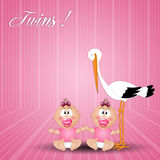 Stork with twin girls Royalty Free Stock Photography