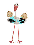 Stork with twins boys Stock Images