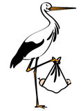 Stork With Baby Vector Royalty Free Stock Photos
