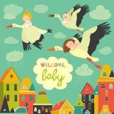 Storkar med behandla som ett barn stock illustrationer