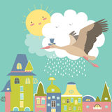 Storken flyger i himlen stock illustrationer