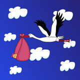 Storken har en behandla som ett barnflicka Arkivbilder