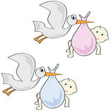 Storks and babies. Cartoon illustration of storks carrying a baby boy and a baby girl Stock Image