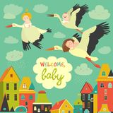 Storks with babies. Storks is flying in the sky with babies above the city. Vector illustration Stock Photography
