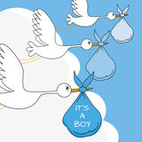 Storks with baby boy. Baby boy arrival announcement card. storks with baby boy Royalty Free Stock Image
