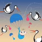 Storks and baby with parachute. Cartoon storks and baby with parachute Stock Photos