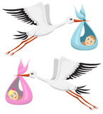 Storks with boy and girl. Cartoon storks with boy and girl Stock Image