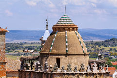 Storks in a Church dome in Trujillo Royalty Free Stock Image