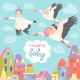 Storks with babies. Storks is flying in the sky with babies above the city. Vector illustration Royalty Free Stock Image