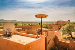 Storks nest ready on the roof of a house in Ouarzazate, Morocco Stock Photography