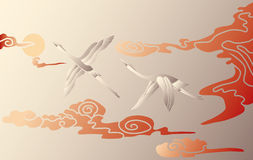 Storks in the sky. Vector illustration of two storks in the sky Royalty Free Stock Photo