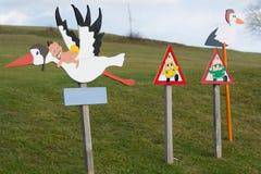 Storks symbolizing after childbirth Stock Image
