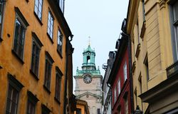 Storkyrkan, domkyrka av St Nicholas och byggnader i Gamla Stan arkivbilder