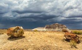 Storm över den förstenade skogen (AZ) Royaltyfri Foto