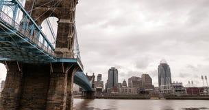 Storm över upphängningbron Newport Kentucky Cincinnati Ohio Ri arkivbild