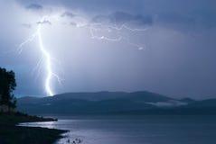 Storm över Yenisei River, Sibirien Arkivbild