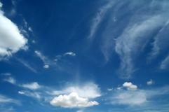 After the storm. Clouds after summer storm: clear bright sky and fluffy clouds stock photography