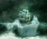 The storm. A ship sailing on a stormy night with great waves