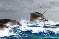Storm. Scene of the ship and storm Royalty Free Stock Photo