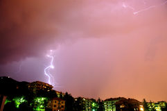 Storm. A lightning is grounding during a storm on the hills back of genoa, italy Stock Photo