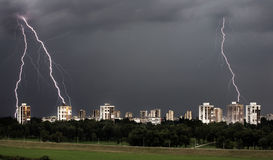 Storm. Lightning strike during storm in city Royalty Free Stock Image
