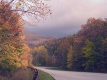 Before the Storm 2. Taken along the Cherohala Skyway (a national scenic byway from Tellico Plains, TN to Robbinsville, NC.) before a storm in autumn. The color Stock Photos
