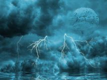 Storm. Overcast blue landscape with lighting Stock Photo