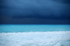 Before the storm. Beach in mexico, storm and rain is coming Royalty Free Stock Images