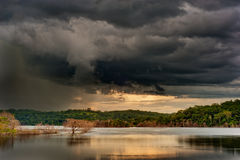 The Storm. A storm approaches a lake near Goiania-Goias-Brazil Royalty Free Stock Image