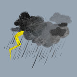 Storm. Illustration of black rainy clouds and lightning Royalty Free Stock Image