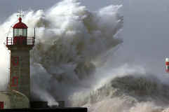 Storm. Dramatic wave during storm weather conditions Stock Image