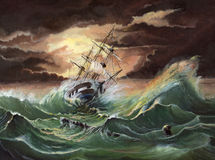 Storm. My oil painting on cardboard inspired Aivazovsky paintings and film Master and commander