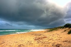 Before the storm. Lonely beach in western- australia before the storm stock image