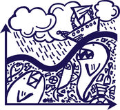 Storm. The hand-draw on the graph: the boat in the strong storm, like metaphors of business difficulties Stock Photography