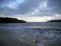 Before the storm. Porto Colom coast in Majorca (Balearic Islands - SPAIN) just before a mediterranean storm in winter Royalty Free Stock Photos