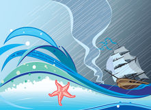 Storm. Vector and raster illustration Royalty Free Stock Photos