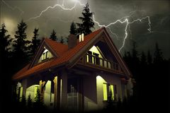 Storm Above the House vector illustration