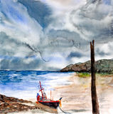 Storm above seascape watercolor painted. Storm above seascape watercolor on paper royalty free illustration